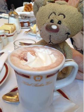 Reisebärchen Pimbolino, das Maskottchen meiner Freunde @schlumbi und @justinian liebt Schokolade