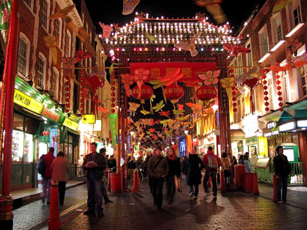 Die Londoner Chinatown zum chinesischen Neujahr
