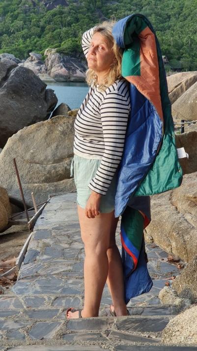 Immer dabei: Mariniere von Petit Bateau, Shorts von Patagonia, Decke Voited